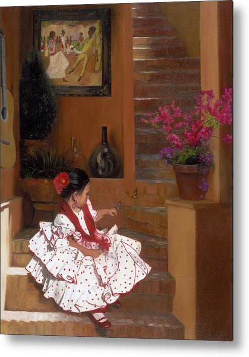 Mexico Metal Print featuring the painting Western Grace of Good Cheer  Mexico  from The Three Graces of the West by Anna Bain