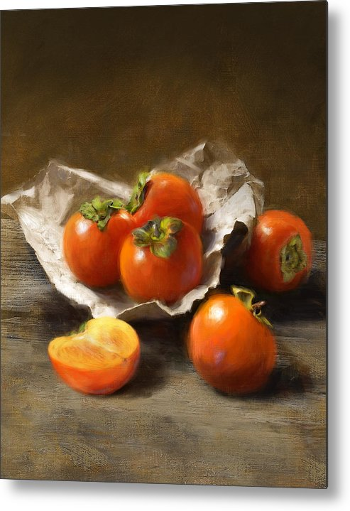 Persimmons Metal Print featuring the painting Winter Persimmons by Robert Papp