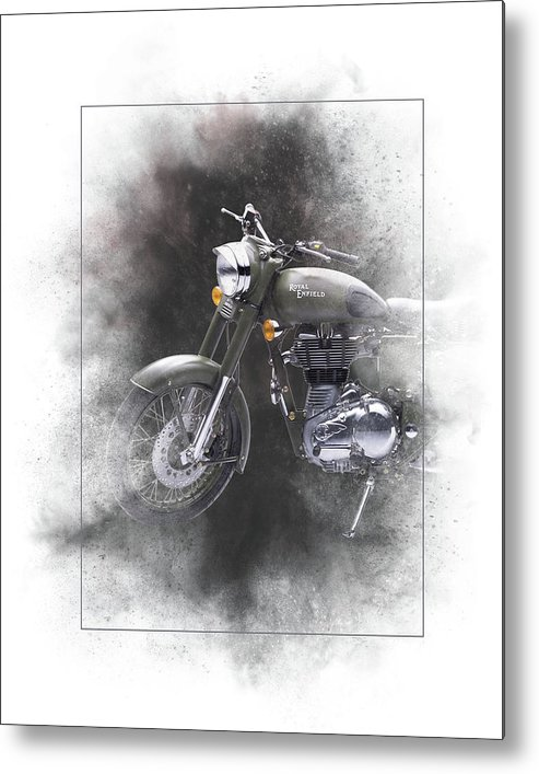 Royal Enfield Metal Print featuring the mixed media Royal Enfield Classic 500 Painting by Smart Aviation