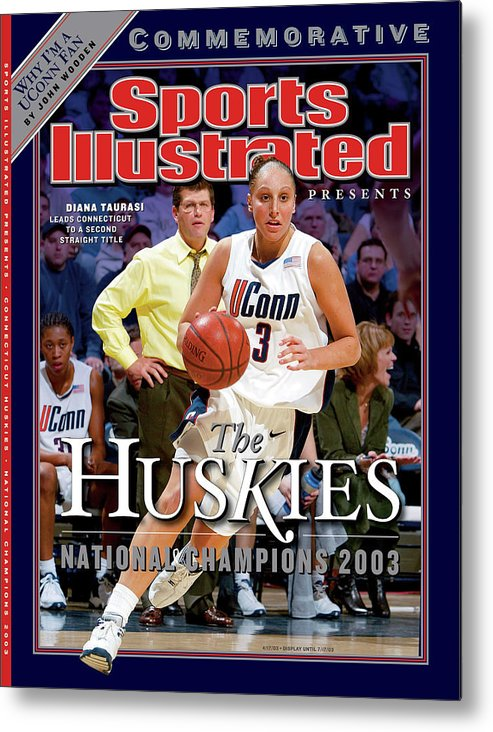 Looking Metal Print featuring the photograph University Of Connecticut Diana Taurasi, 2003 Ncaa Womens Sports Illustrated Cover by Sports Illustrated