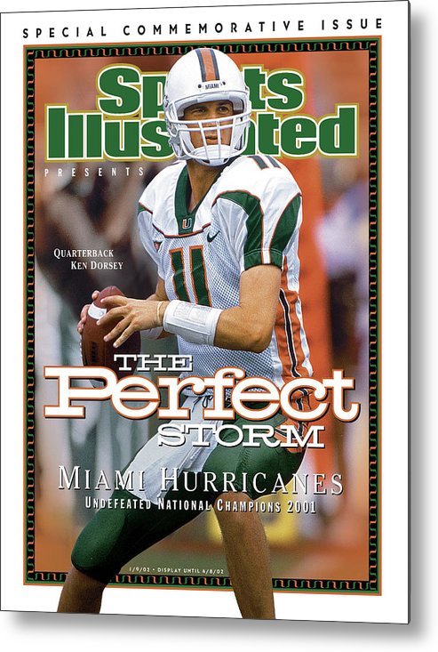 Sports Illustrated Metal Print featuring the photograph University Of Miami Qb Ken Dorsey, 2001 Ncaa National Sports Illustrated Cover by Sports Illustrated