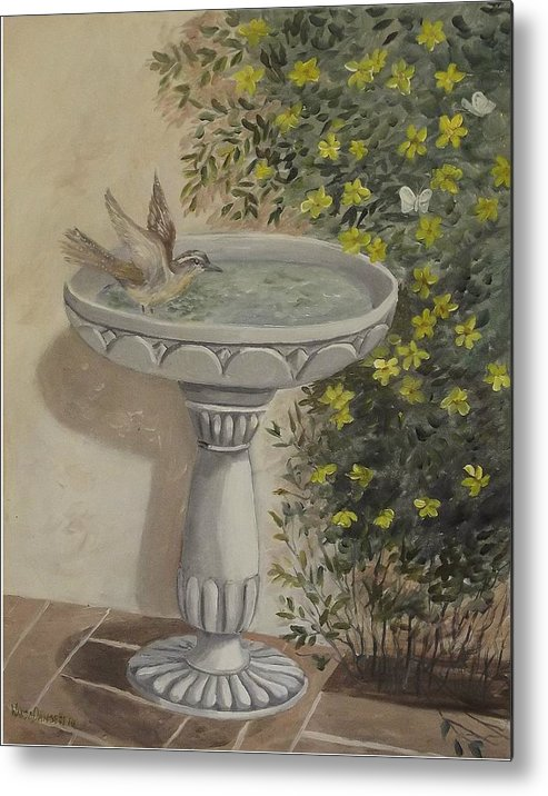 Wren Metal Print featuring the painting Getting The Dust Off by Wanda Dansereau