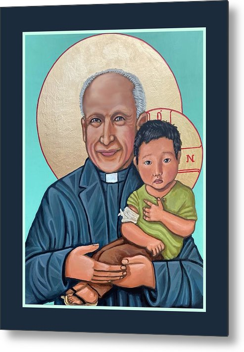 Iconography Jesuit Jesuits Metal Print featuring the painting Pedro Arrupe SJ by Kelly Latimore