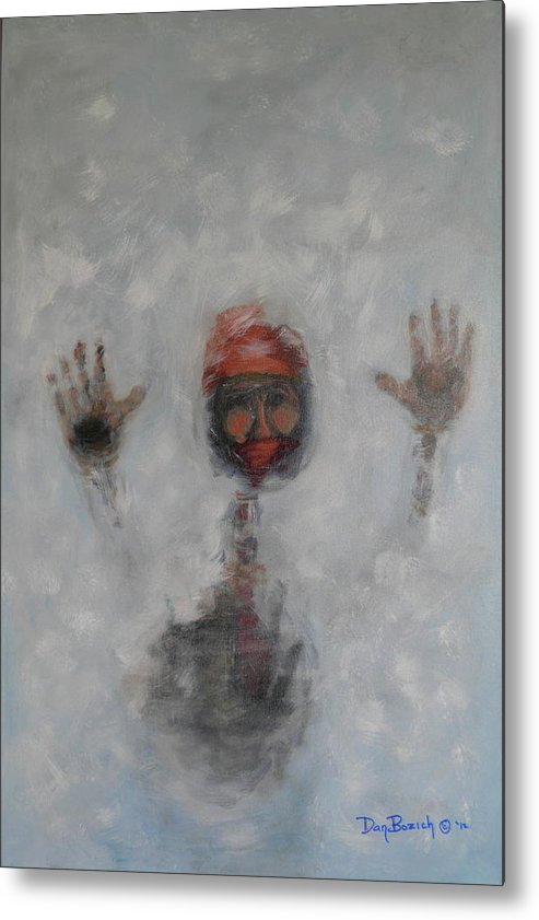 Winter Metal Print featuring the painting Frosty Window by Dan Bozich