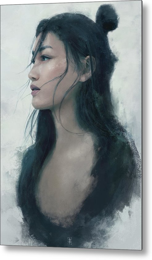 Warrioress Metal Print featuring the painting Blue Portrait by Eve Ventrue