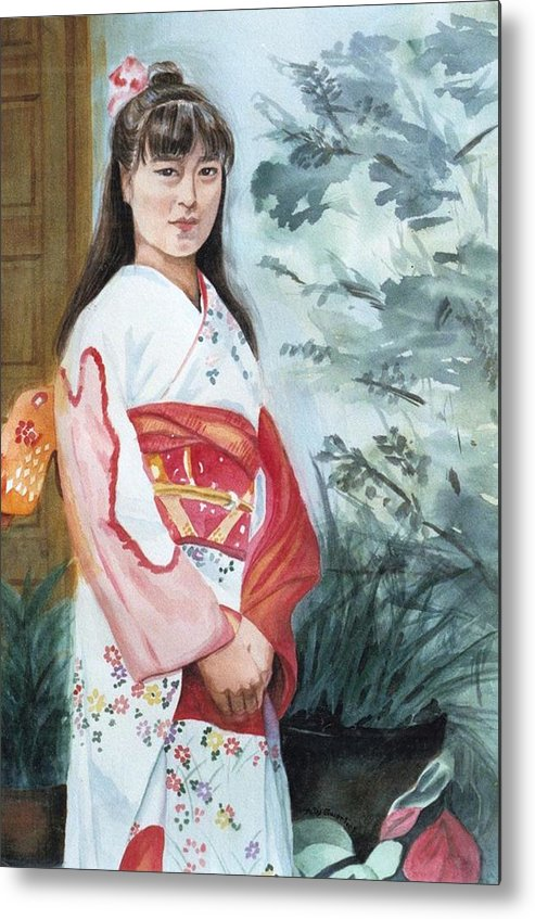 Japanese Girl In Kimono Metal Print featuring the painting Girl in Kimono by Judy Swerlick
