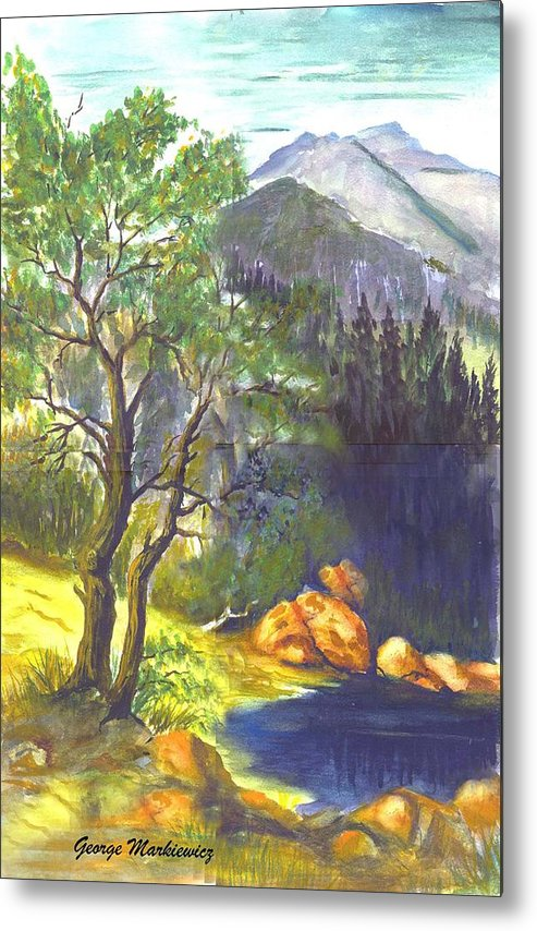 Landscape With Mountians Metal Print featuring the print Mountain Sun by George Markiewicz
