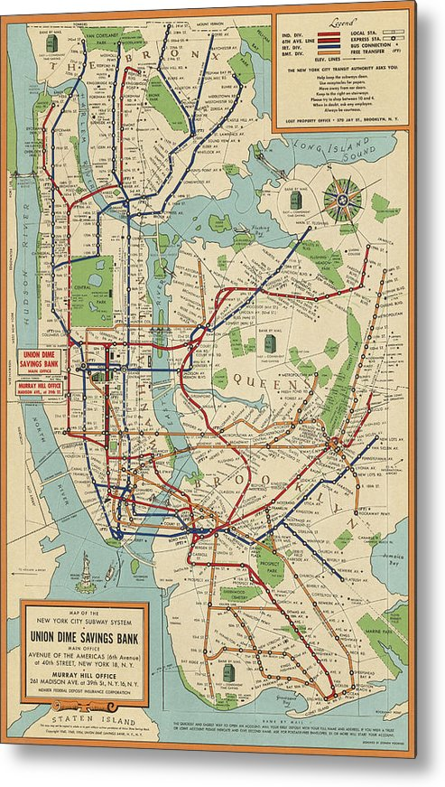 Subway Maps For New York City.Old New York City Subway Map By Stephen Voorhies 1954 Metal Print By Blue Monocle