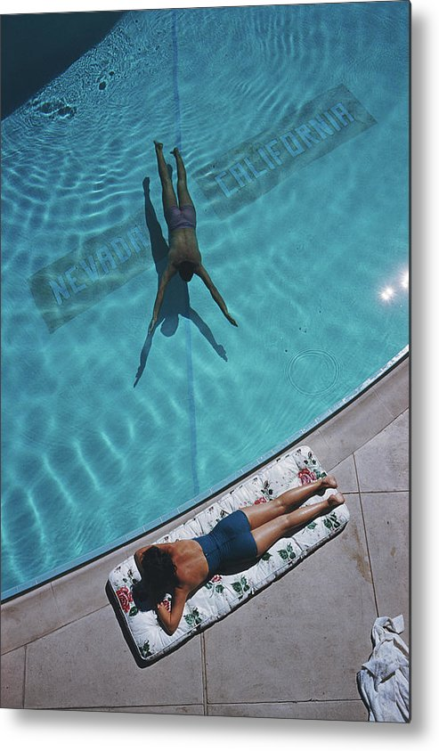 Young Men Metal Print featuring the photograph Swimmer And Sunbather by Slim Aarons