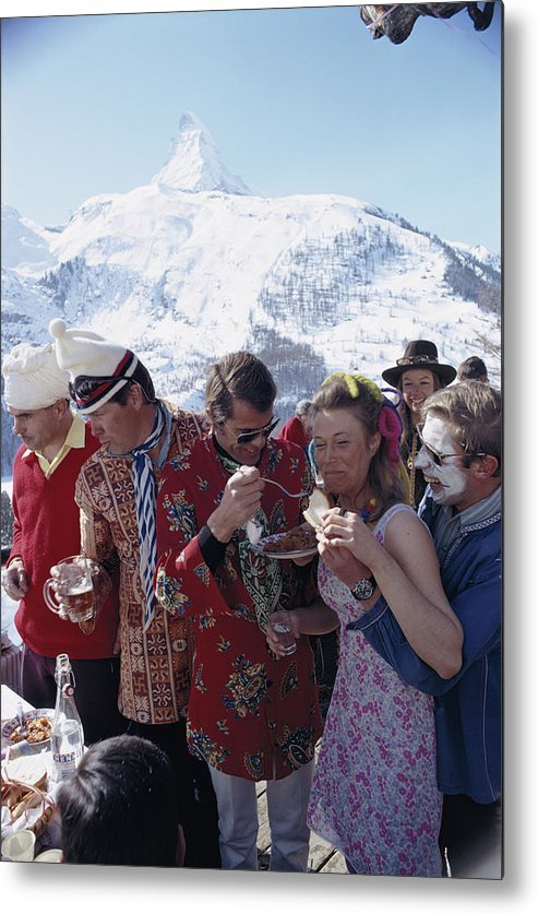 People Metal Print featuring the photograph Zermatt Skiing by Slim Aarons