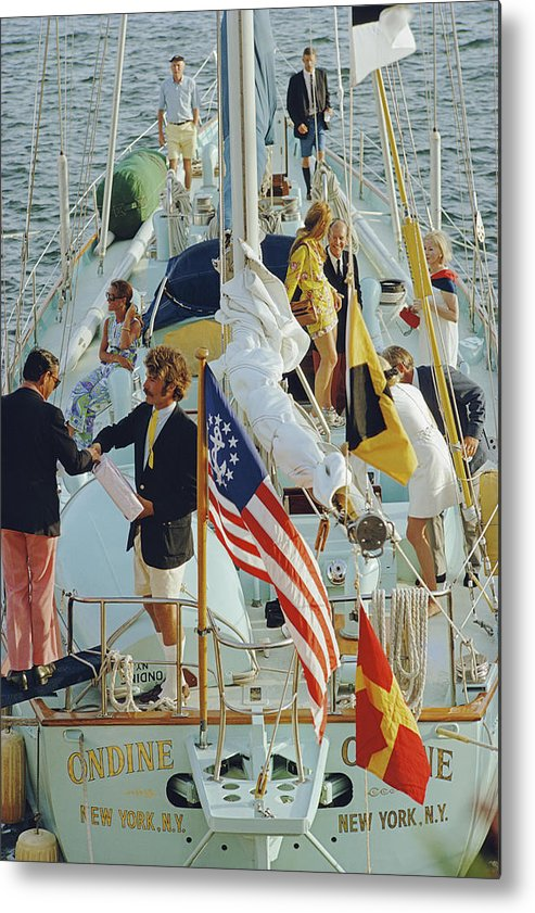 People Metal Print featuring the photograph Party In Bermuda by Slim Aarons