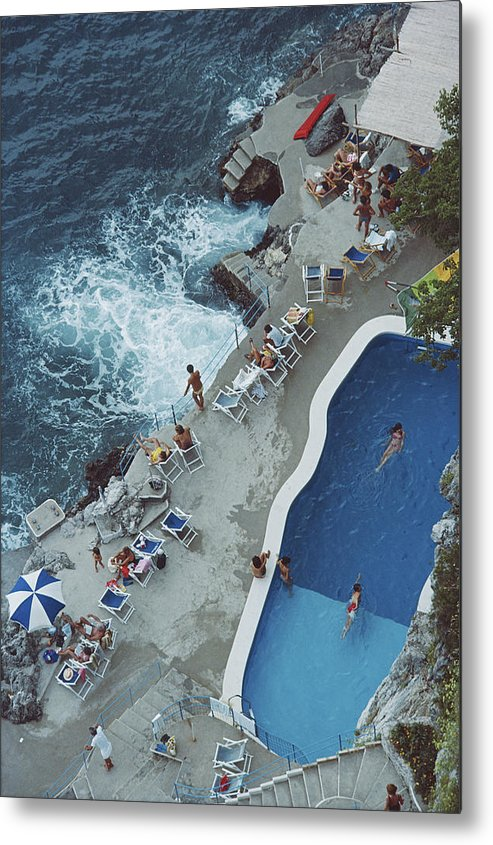 1980-1989 Metal Print featuring the photograph Pool On Amalfi Coast by Slim Aarons