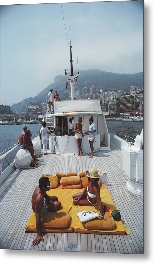 1980-1989 Metal Print featuring the photograph Scottis Yacht by Slim Aarons