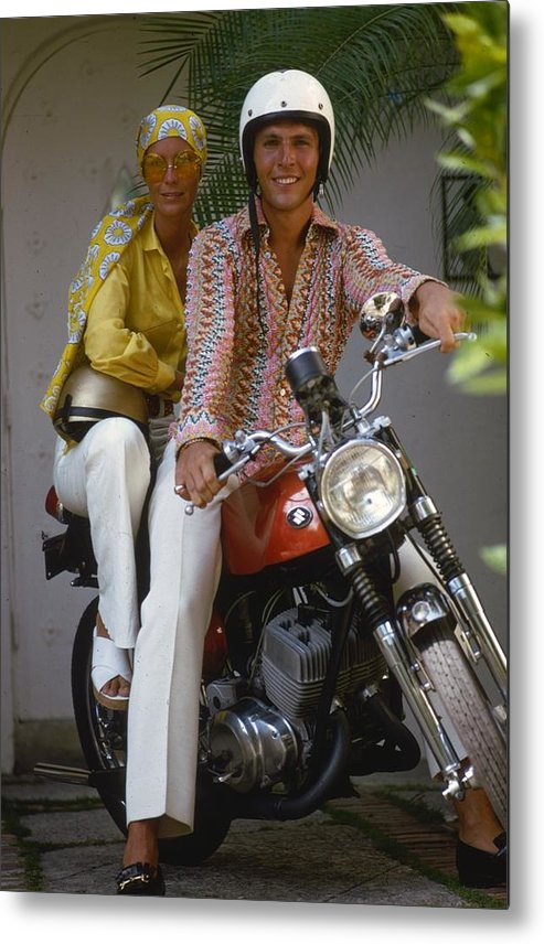 Sports Helmet Metal Print featuring the photograph Socialite Bikers by Slim Aarons
