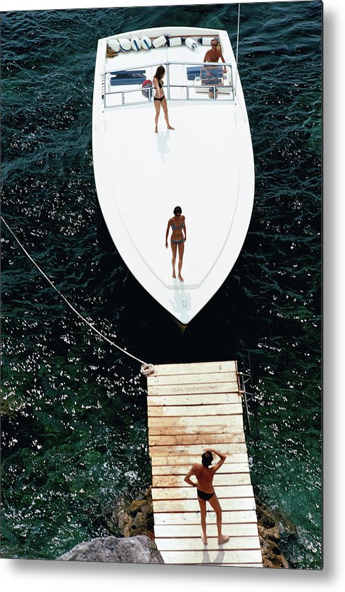 Motorboat Metal Print featuring the photograph Speedboat Landing by Slim Aarons