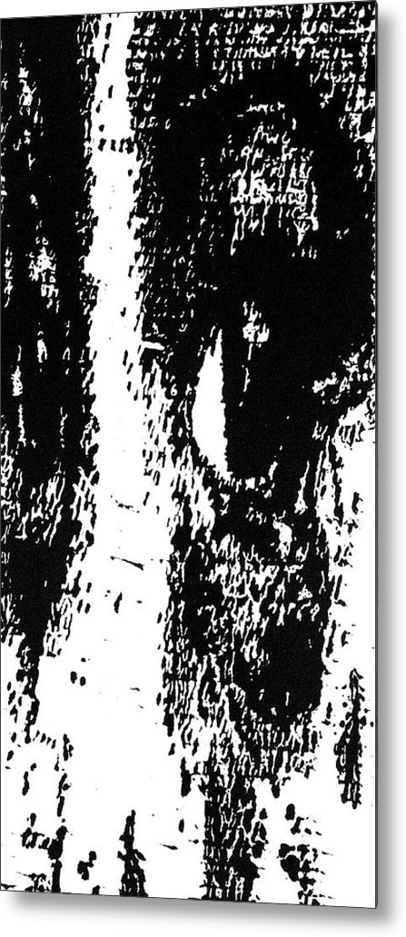 Black Metal Print featuring the painting Eyes No. 1 -- Hand-pulled Wood Cut by Lynn Evenson