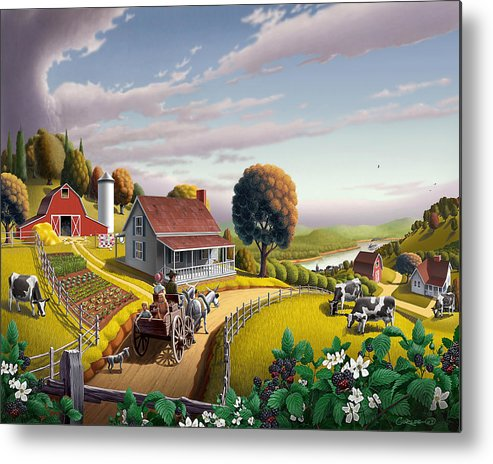 Farm Landscape Metal Print featuring the painting Appalachian Blackberry Patch Rustic Country Farm Folk Art Landscape - Rural Americana - Peaceful by Walt Curlee