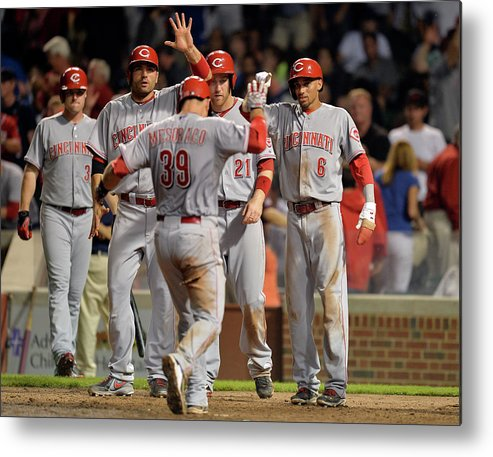 Ninth Inning Metal Print featuring the photograph Cincinnati Reds V Chicago Cubs by Brian Kersey