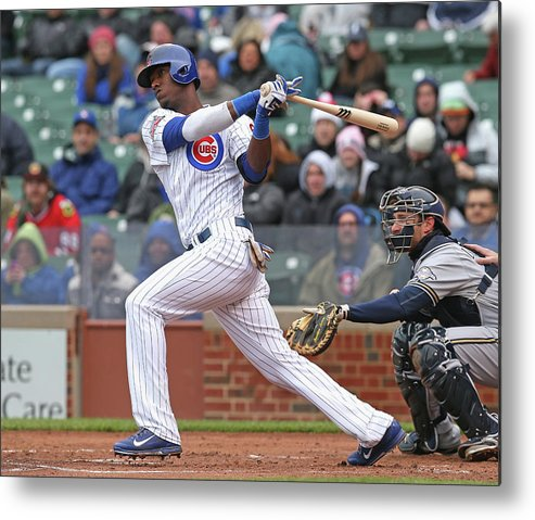 National League Baseball Metal Print featuring the photograph Milwaukee Brewers V Chicago Cubs by Jonathan Daniel
