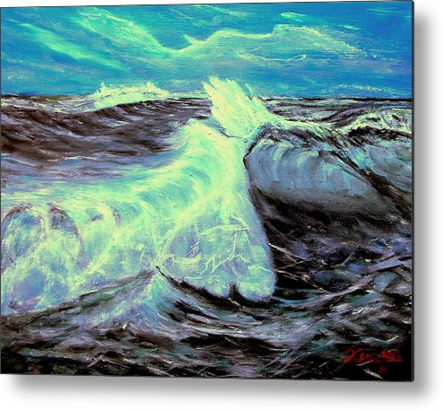 Seascape. Rough Water Metal Print featuring the painting Ocean Waves by Kenneth LePoidevin