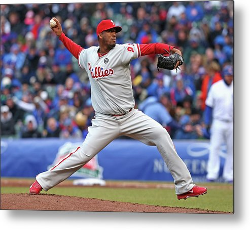 Ball Metal Print featuring the photograph Philadelphia Phillies V Chicago Cubs by Jonathan Daniel
