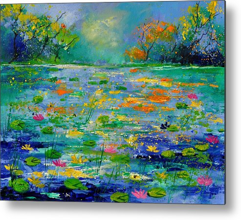 Landscape Metal Print featuring the painting Pond 454190 by Pol Ledent