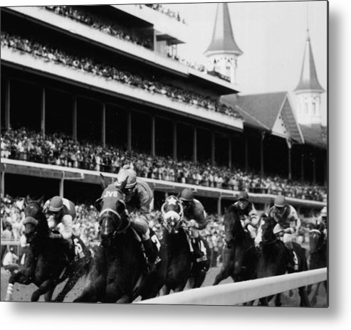 Classic Metal Print featuring the photograph Kentucky Derby Horse Racing by Retro Images Archive