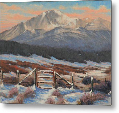 Pikes Peak Metal Print featuring the painting 110901-810 Red Gate by Kenneth Shanika