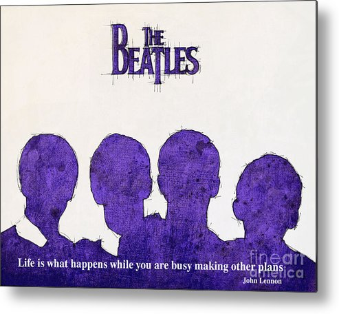 Lennon Metal Print featuring the drawing John Lennon Quote - The Beatles by Drawspots Illustrations