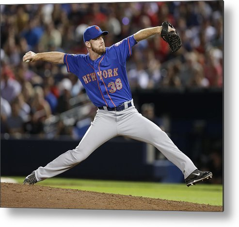 Atlanta Metal Print featuring the photograph New York Mets V Atlanta Braves by Mike Zarrilli