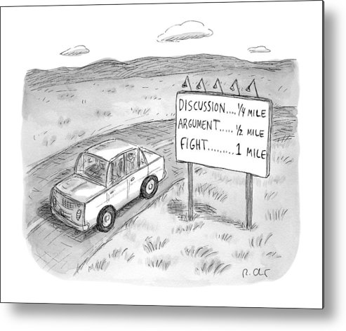 Argument Metal Print featuring the drawing New Yorker August 1st, 2016 by Roz Chast