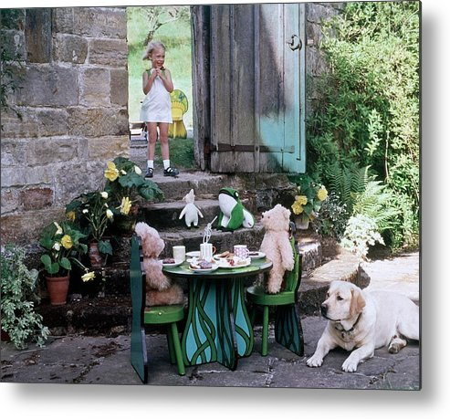Children Metal Print featuring the photograph A Dog Sitting Next To Two Teddy Bears Having by Ernst Beadle