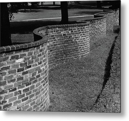 Exterior Metal Print featuring the photograph A Serpentine Brick Wall by William and Neill Dingledine
