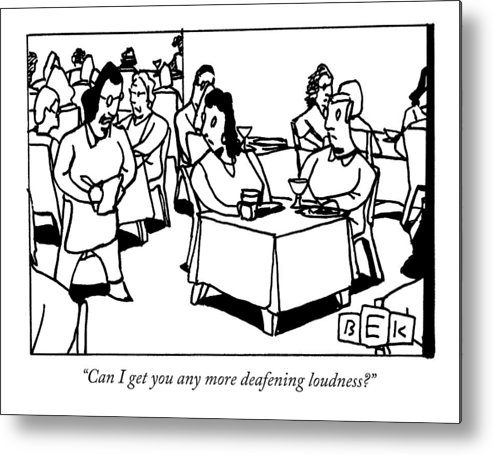 Couple Metal Print featuring the drawing A Waitress In A Crowded Restaurant Addresses by Bruce Eric Kaplan