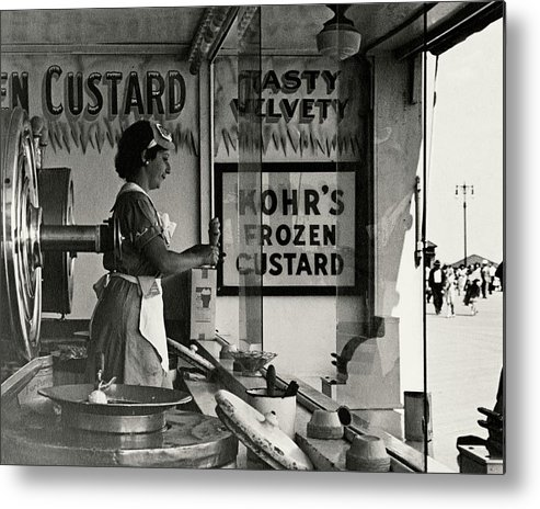 Cityscape Metal Print featuring the photograph A Woman Selling Custard by Lusha Nelson