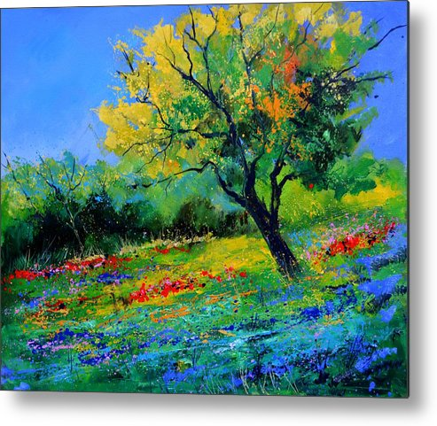 Landscape Metal Print featuring the painting An oak amid flowers in Texas by Pol Ledent