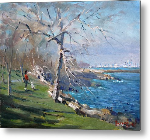 Park Metal Print featuring the painting At the park by Lake Ontario by Ylli Haruni
