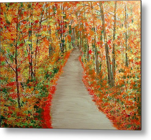 Landscape - Nature Metal Print featuring the painting Autumn's moment by Marco Morales