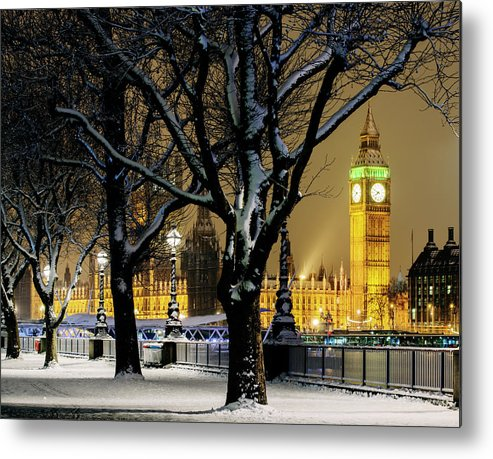 Tranquility Metal Print featuring the photograph Big Ben And Houses Of Parliament In Snow by Shomos Uddin