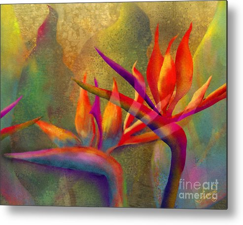 Birds Of Paradise Metal Print featuring the painting Birds in the Mist by Francine Dufour Jones