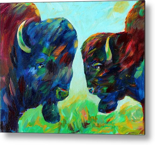 Two Bison In The Meadow Metal Print featuring the painting Bison Wisdom by Naomi Gerrard