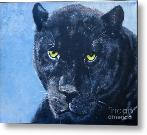 Black Cat Metal Print featuring the painting Black Panther by Darlene Green