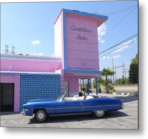Music Metal Print featuring the photograph Blue Cadillac At Cadillac Jacks by Jim Steinfeldt