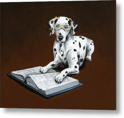 Dalmatian Metal Print featuring the painting Book worm...Dog Art Painting by Amy Giacomelli