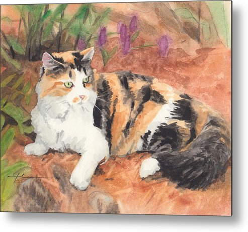 <a Href=http://miketheuer.com Target =_blank>www.miketheuer.com</a> Calico Cat In Garden Watercolor Painting Theuer Metal Print featuring the painting Calico Cat In Garden Watercolor Painting by Mike Theuer