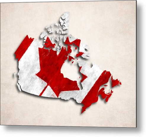 Canada Map Art Canada Map Art with Flag Design Metal Print by World Art Prints