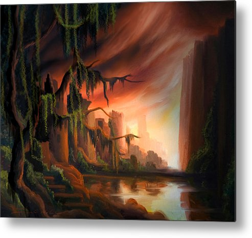 Sunrise Metal Print featuring the painting Cooridor of Light by James Christopher Hill