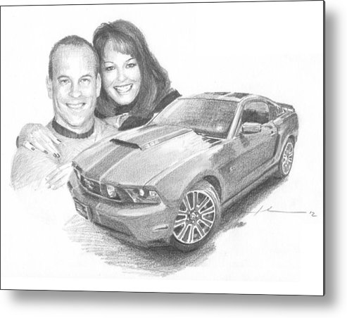 <a Href=http://miketheuer.com Target =_blank>www.miketheuer.com</a> Couple And Ford Mustang Pencil Portrait Metal Print featuring the drawing Couple And Ford Mustang Pencil Portrait by Mike Theuer