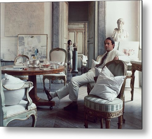 Rome Metal Print featuring the photograph Cy Twombly Sitting In His Apartment by Horst P. Horst