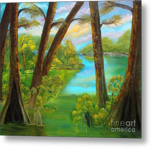 Cypress Metal Print featuring the painting cypress Hidout by Darlene Green